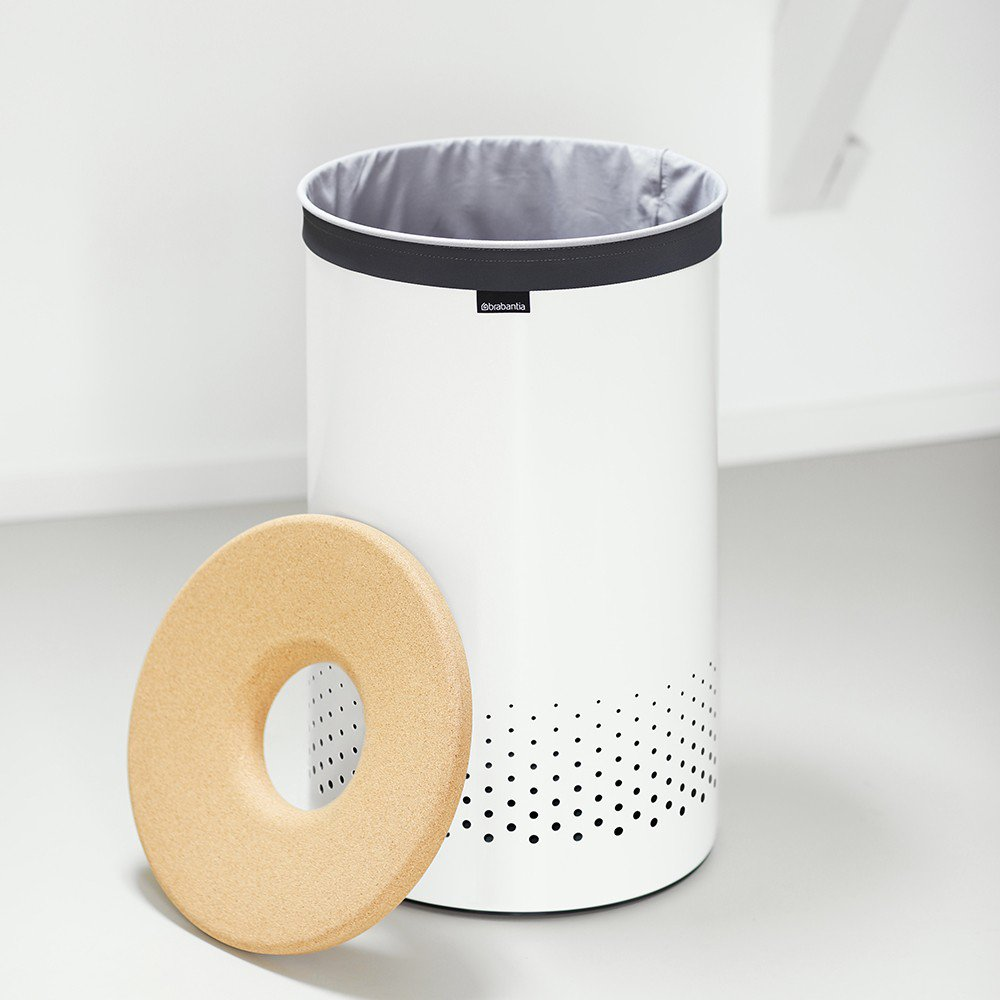 Brabantia 60 Litre Laundry Bin In White With Cork Lid At