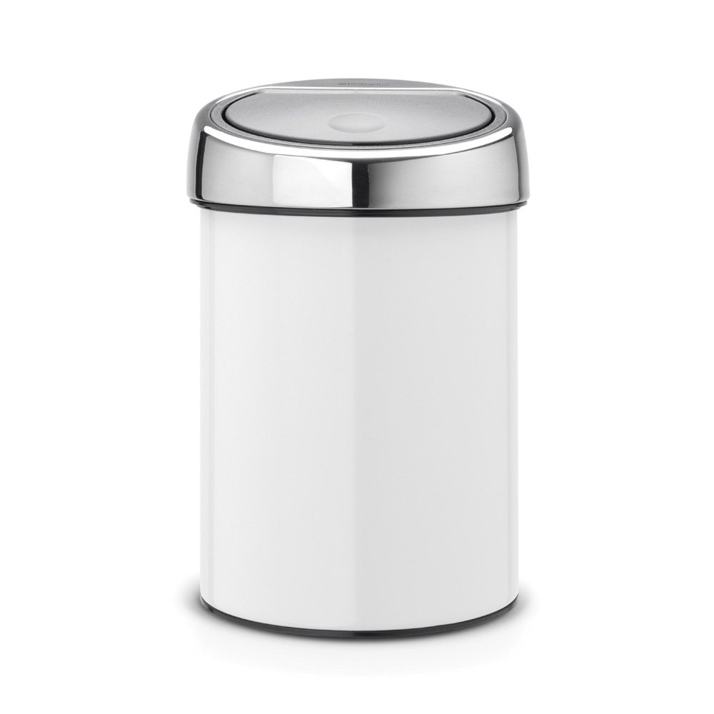 brabantia touch bin 3 litre in white with brilliant steel. Black Bedroom Furniture Sets. Home Design Ideas