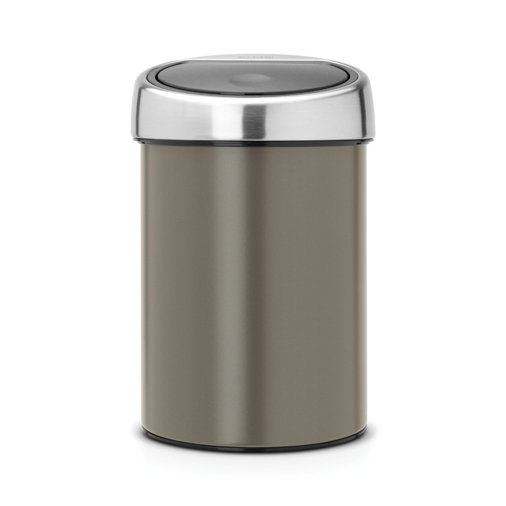 brabantia touch bin 3 litre in platinum with matt steel. Black Bedroom Furniture Sets. Home Design Ideas