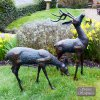 Solstice Sculptures Deer Pair Small 56&33cm Aluminium Dark Verdigris