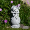 Solstice Sculptures Cherub On Ball 30cm Antique Stone Effect