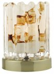 Dar Elf Touch Lamp Antique Brass With Ribbed Glass