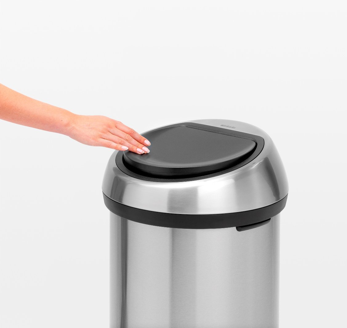 Brabantia 60 Litre Touch Bin In Metallic Grey With Brilliant Steel Lid At Barnitts Online Store