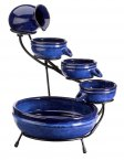 Smart Solar Blue Neptune Cascade Water Fountain