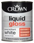 Crown Liquid Gloss Brilliant White Paint 750ML