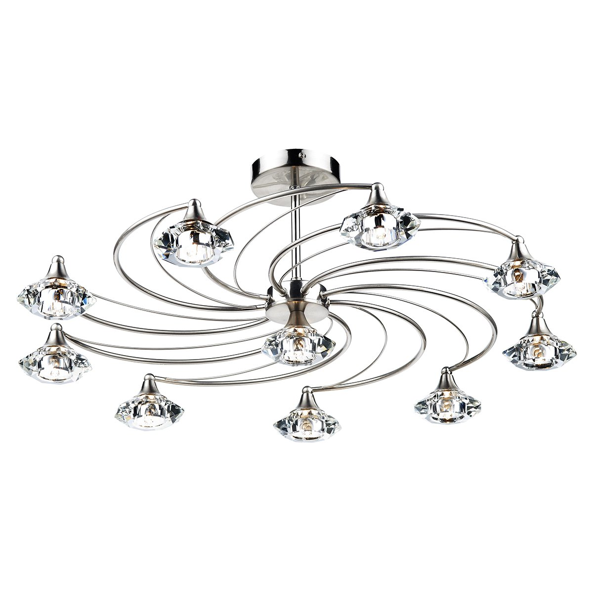 dar luther 10 light semi flush complete with crystal glass satin chrome at barnitts online store