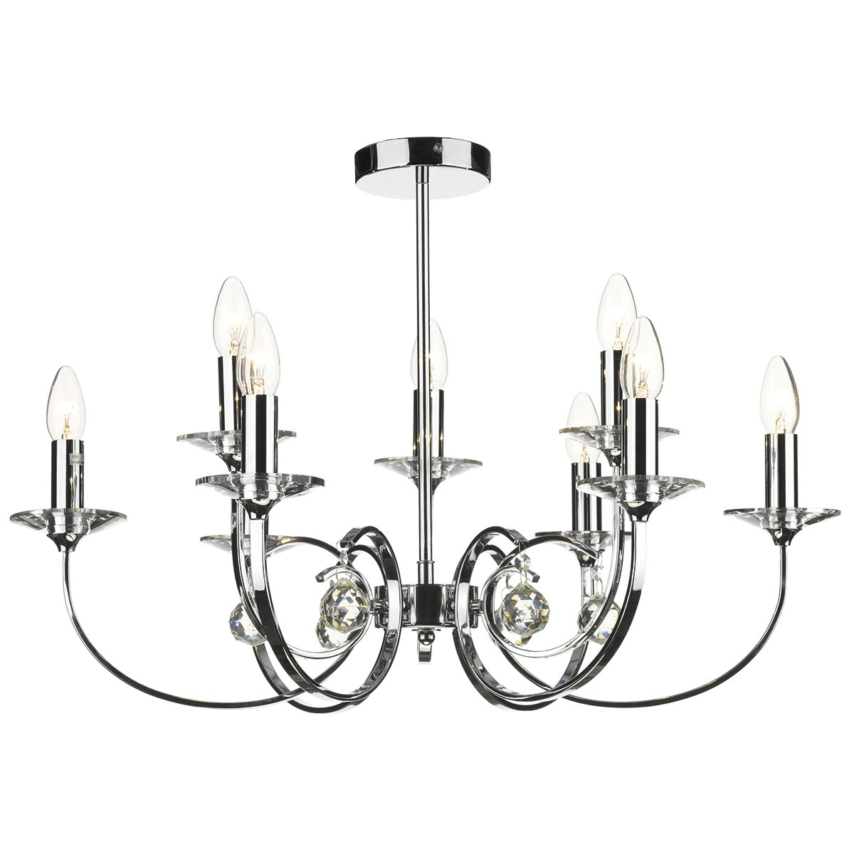 dar allegra 9 light dual mount pendant polished chrome at barnitts online store  uk