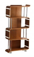 Jual Bali Collection Curve Walnut & Chrome Curved Wood Bookshelf