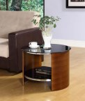 Jual Curve Walnut & Black Glass Curved Wood Round Lamp Table