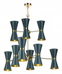 David Hunt Hyde 18 Light Pendant with Smoke Blue Metal Shade