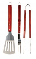 Cook King BBQ 3 Piece Deluxe Wooden Handled Tool Set