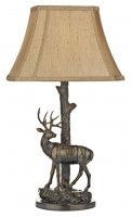 Dar Gulliver Deer Table Lamp In Aged Brass Complete With Shade