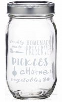 Home Made Text Print Glass Jar Assorted 480ml
