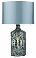 Dar Guru Table Lamp Blue Mosaic Dual Source Complete with Shade
