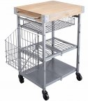 KitchenCraft Industrial Kitchen Wire and Mango Wood Folding Kitchen Trolley