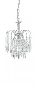 Searchlight Waterfall 1 Light Chrome Pendant with Crystal Drops