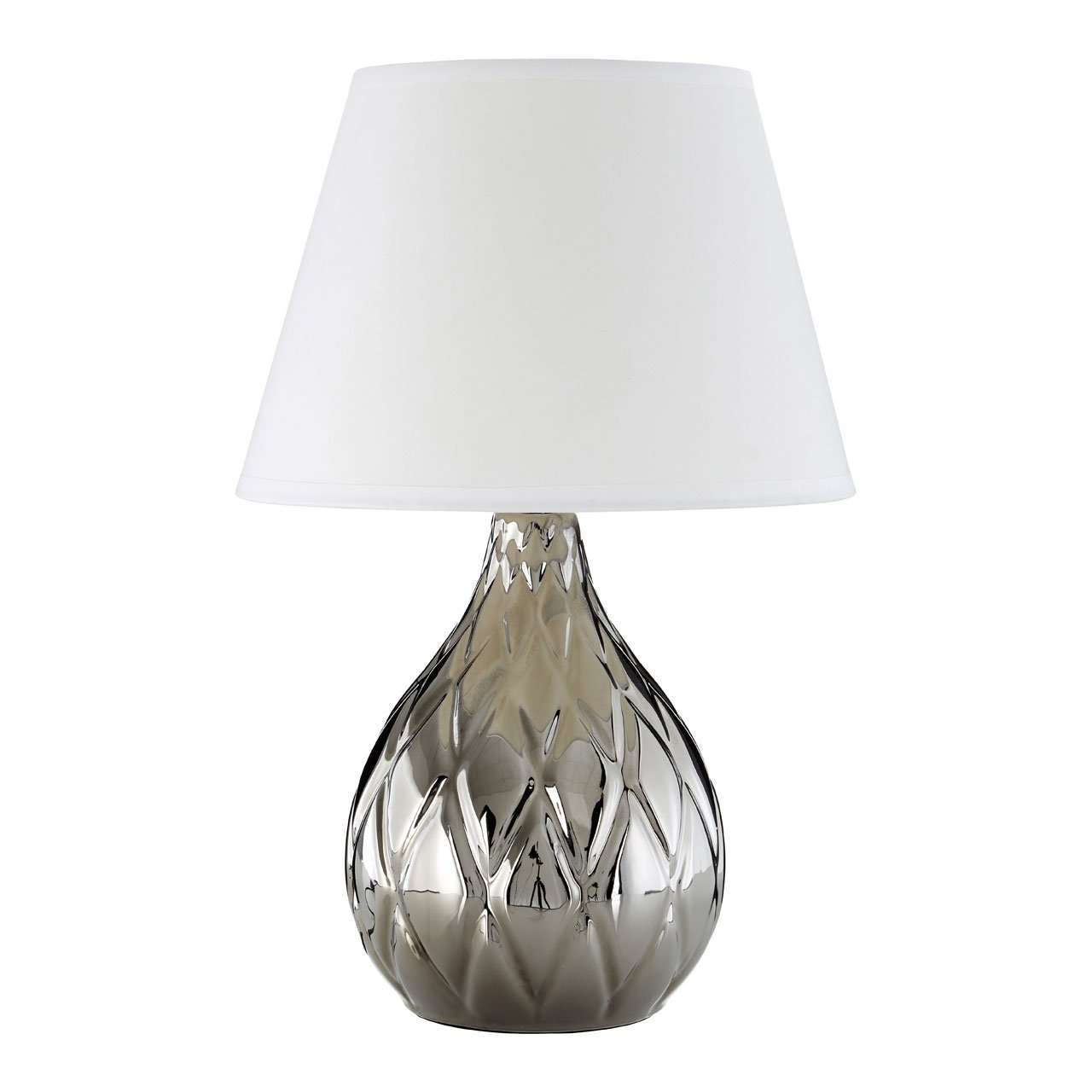 Hannah Silver Ceramic Table Lamp With White Shade