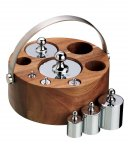 KitchenCraft Eight Piece Imperial Weight Set with Acacia Wood Stand