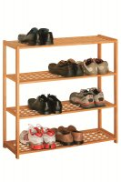Premier Natural Walnut 4 Tier Shoe Rack