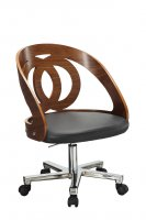 Jual Santiago Curved Walnut & Black Leather Office Chair