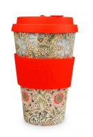 Ecoffee Cup 14oz William Morris Corncockle with Red Silicone
