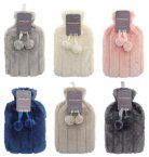 Country Club Hot Water Bottles with Luxury Faux Fur Cover - Assorted Colours