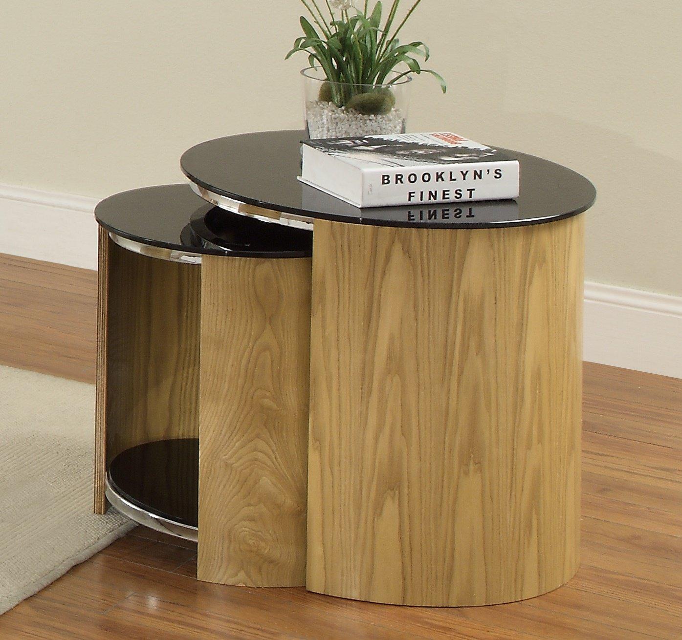 jual san marino glass nest of tables in oak at barnitts. Black Bedroom Furniture Sets. Home Design Ideas