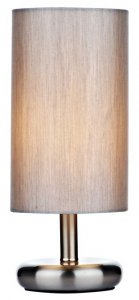 Dar Tico Touch Table Lamp Satin Chrome with Grey Shade