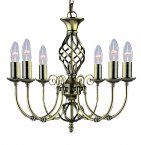 Searchlight Zanzibar 6 Light Antique Brass Pendant