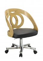 Jual Santiago Curved Oak & Black Leather Office Chair
