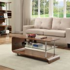 Jual BS200 Collection Walnut & Clear Glass Coffee Table
