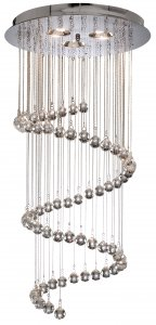 Searchlight Spiral 5 Light Chrome Flush Ceiling Light with Crystal Balls