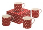Heath McCabe Countess White Spot on Red Fine China 295ml Mug