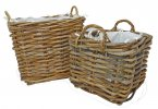 Manor Reproductions Dorchester Rattan Log Basket - Set of 2