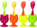 Zak Designs Colourful Egg Cup and Spoon 8 Piece Set
