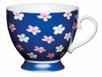 KitchenCraft Fine Bone China Footed Mug 400ml - Blue Ditsy