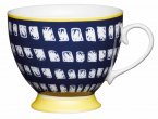 KitchenCraft Fine Bone China Footed Mug 400ml - Navy Squares