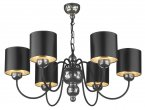 Dar Garbo 6 Light Pewter Pendant with Black/Silver Shades