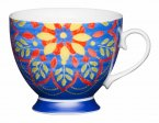 KitchenCraft Fine Bone China Footed Mug 400ml - Moroccan Blue