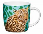 KitchenCraft Fine Bone China Barrel Mug 425ml - Cheetah