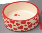 "Petface Ceramic Bowl Red Hearts 6""/15cm"
