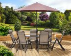 Marcia Textilene Rectangular Table 6 Seat Dining Set with Parasol