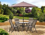 Marcia Textilene Round Table 4 Seat Dining Set with Parasol