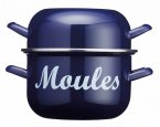 KitchenCraft World of Flavours Blue Enamel Mussel Pot 2.5 Litres