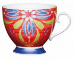 KitchenCraft Fine Bone China Footed Mug 400ml - Moroccan Red