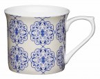 KitchenCraft Fluted Fine Bone China Mug 300ml - Blue Filigree