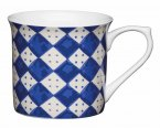 KitchenCraft Fluted Fine Bone China Mug 300ml - Blue Diamonds