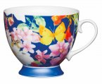 KitchenCraft Fine Bone China Footed Mug 400ml - Blue Butterfly