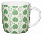 KitchenCraft Fine Bone China Barrel Mug 425ml - Green Leaf