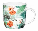 KitchenCraft Fine Bone China Barrel Mug 425ml - Palm Leaf